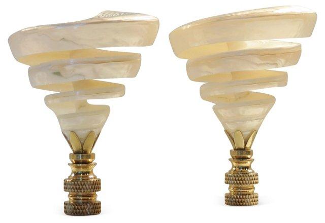 Spiral Trochus Fiji Shell Finials, Pair