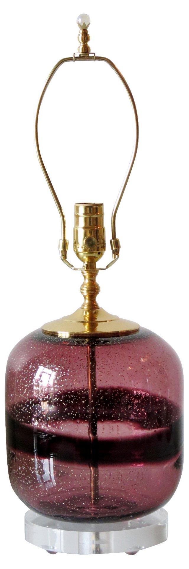 Amethyst & Gold Fleck Art Glass Lamp