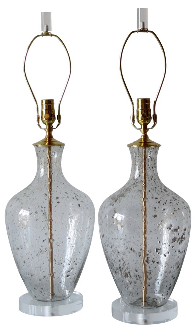 Clear & Bronze Fleck Glass Lamps, Pair