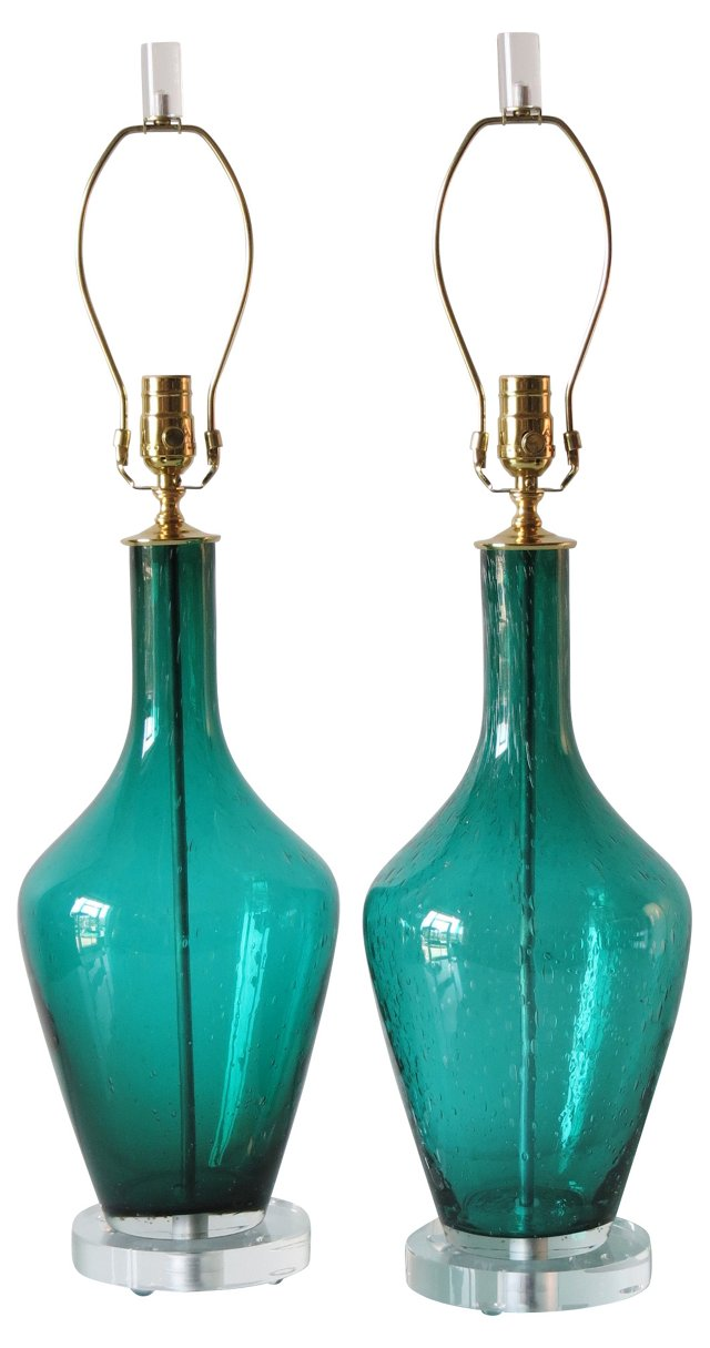 Teal Blue Blown Glass Lamps, Pair