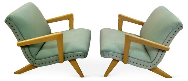 Midcentury Prouvé-Style Chairs, Pair