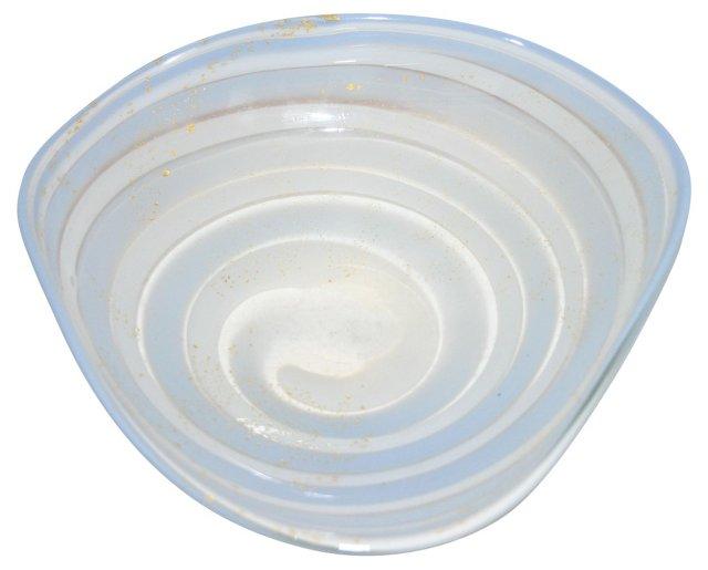 Murano White & Gold Swirled Bowl