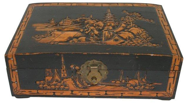 Carved Wood Jewlery Box