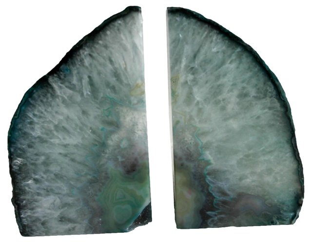 Icy Teal Geode Bookends