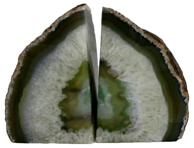 Green Geode Bookends