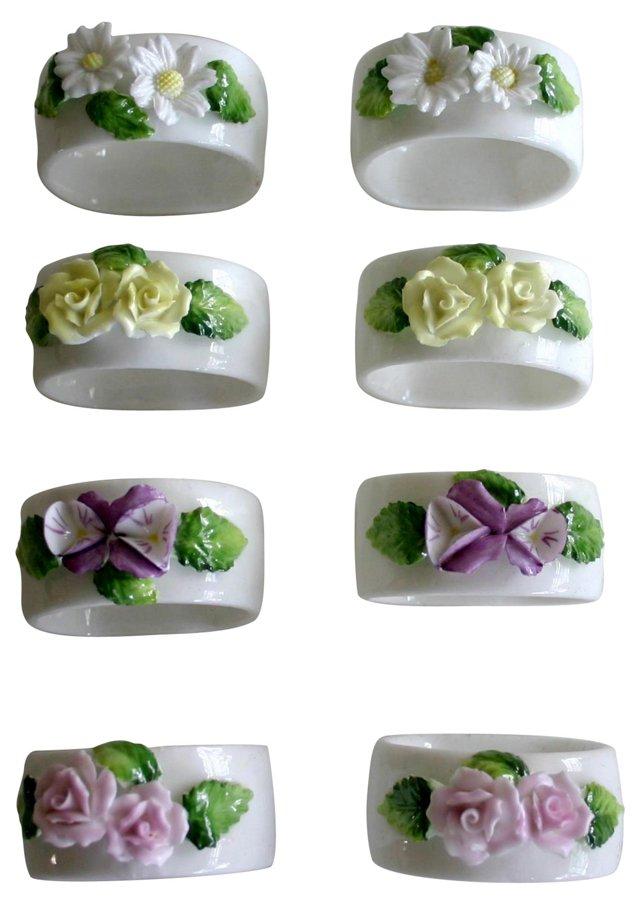 Bone China Floral Napkin Rings, S/8