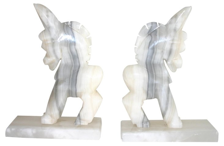 Alabaster Marble Donkey Bookends