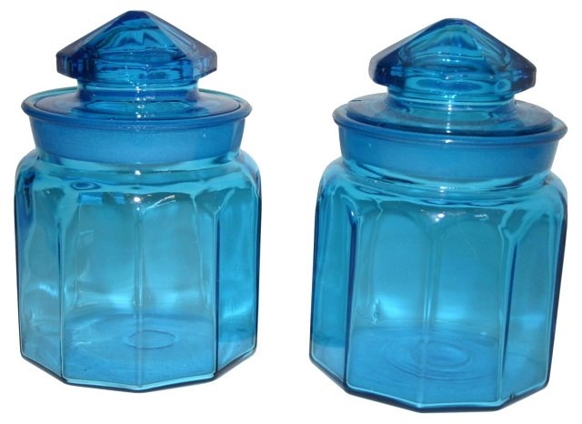 Peacock Blue Glass Canisters, Pair