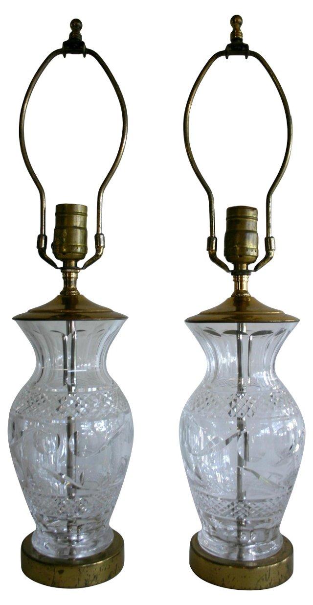 Waterford Crystal Lamps, Pair