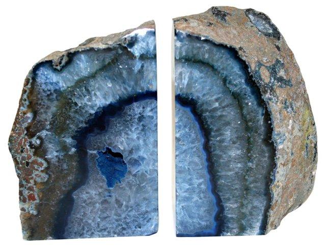 Ocean Blue Geode Specimen Bookends