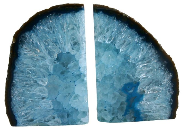 Blue   Geode Bookends