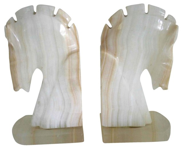 Tan & White Marble Horse Bookends