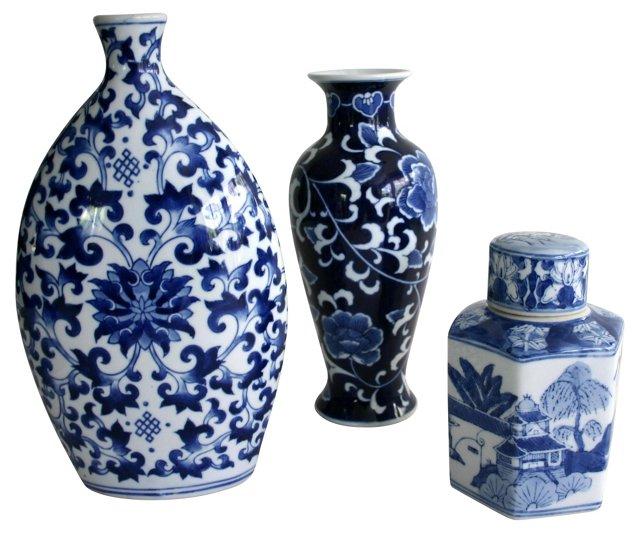 Chinese Blue & White Vases, S/3