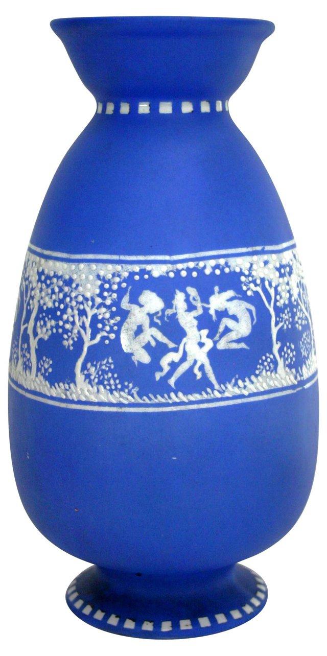 Blue & White Jasperware Nymph Vase