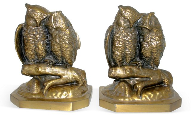 Brass Perched Owl Bookends