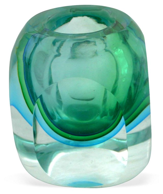 Green & Teal Murano Vase