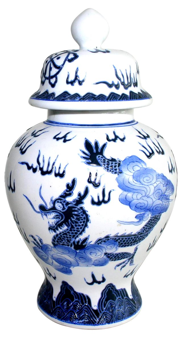 Dragon Ware Blue & White Ginger Jar