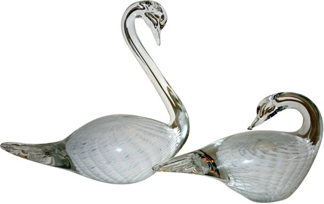 Glass Swans, Pair