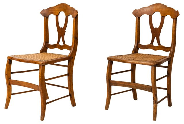 Wood & Rattan Chairs, Pair