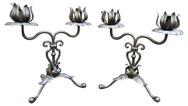 Spanish Revival Candlesticks, Pair