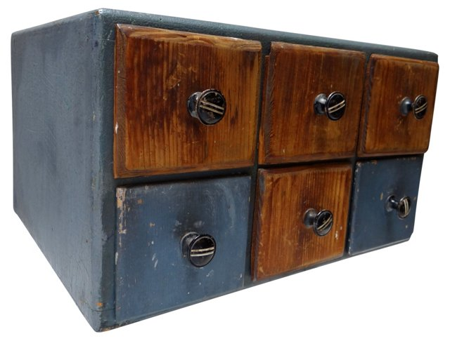 Folk Art Double-Sided Box of Drawers