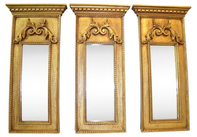 Classical-Style Wall Mirrors, S/3