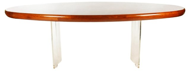 Lucite & Burlwood Table by Kagan