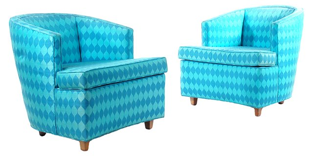 Upholstered Club  Chairs, Pair