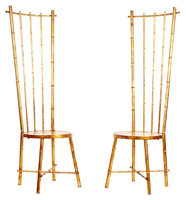 Gilded High-Back Chairs, Pair