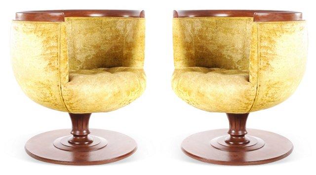 Swivel Club Chairs, Pair