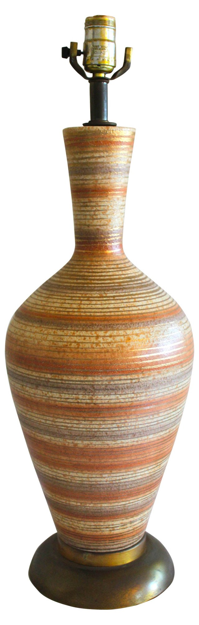 Midcentury Striped Ceramic Lamp