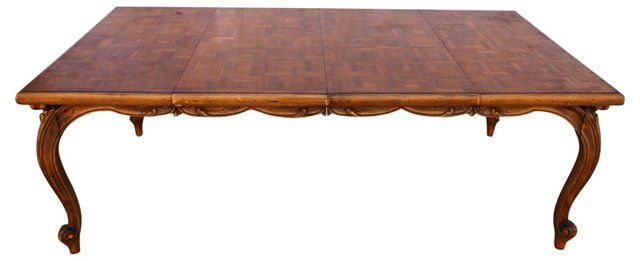 Massive Carved Parquet Dining Table