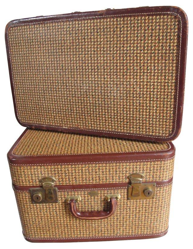 Tweed Suitcases, 2 Pcs