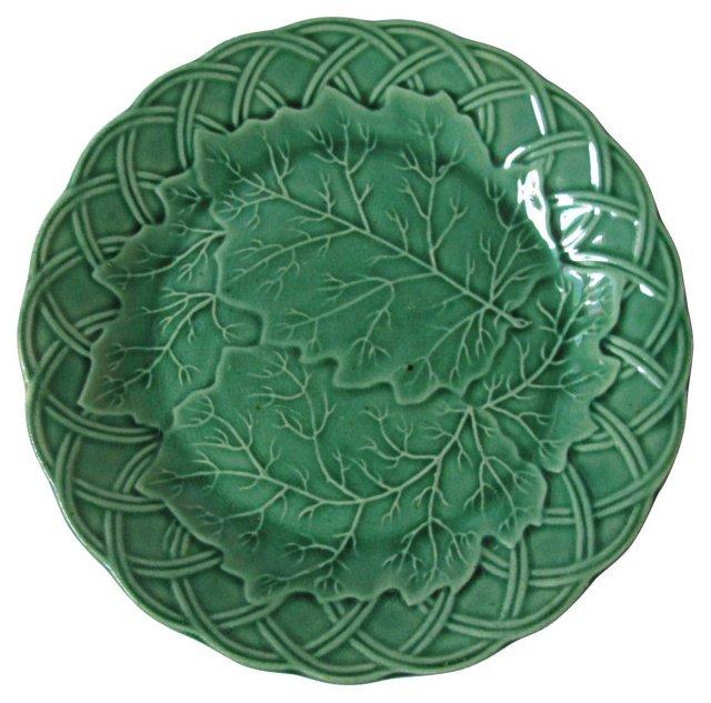 Antique   Green Majolica  Plate