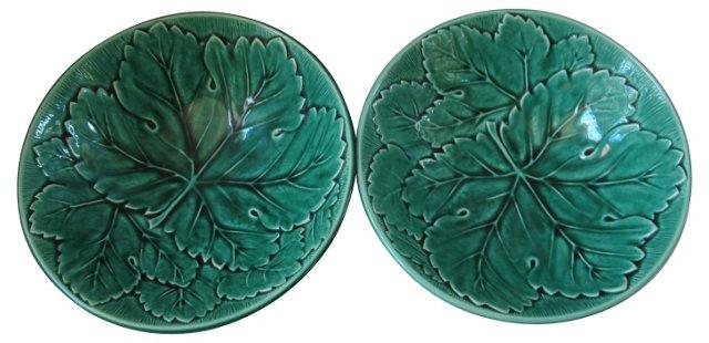 Wedgwood Majolica Leaf Bowls, Pair