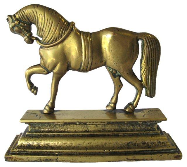 Antique Brass Horse Doorstop