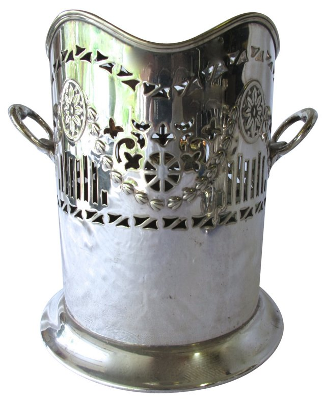 English Silverplate Bottle Holder