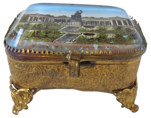 Antique Gilded French  Ring Box