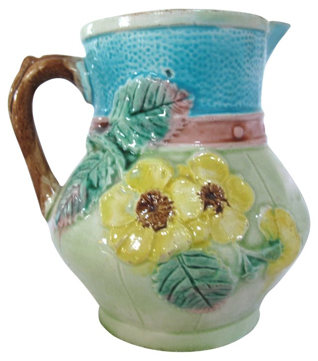 Antique Majolica   Floral Jug