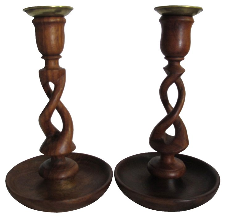 1960s Wood Candleholders, Pair
