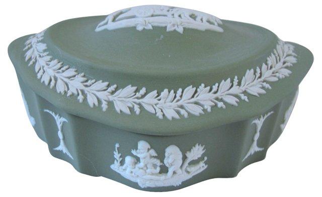 Green Wedgwood Jasperware Cherub Box