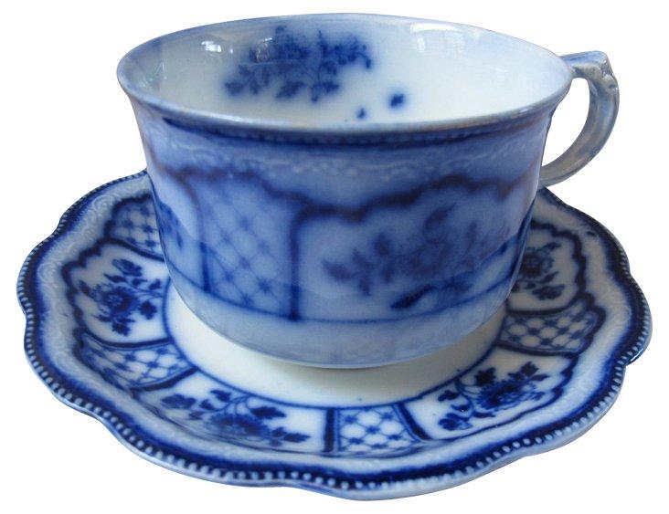 Antique Flow  Blue Cup & Saucer