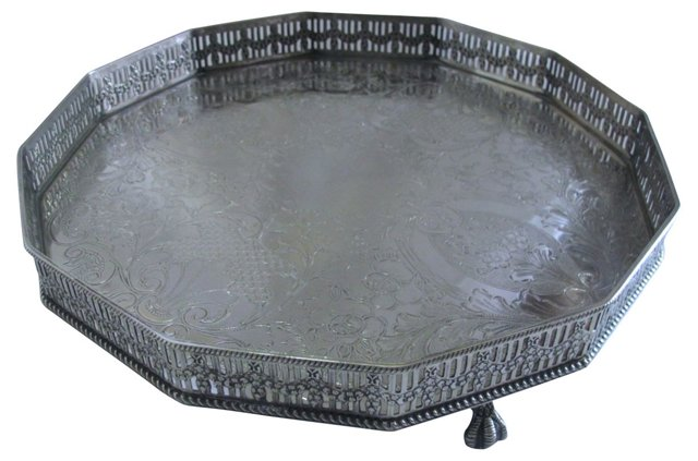 Silverplate Claw Foot Gallery  Tray
