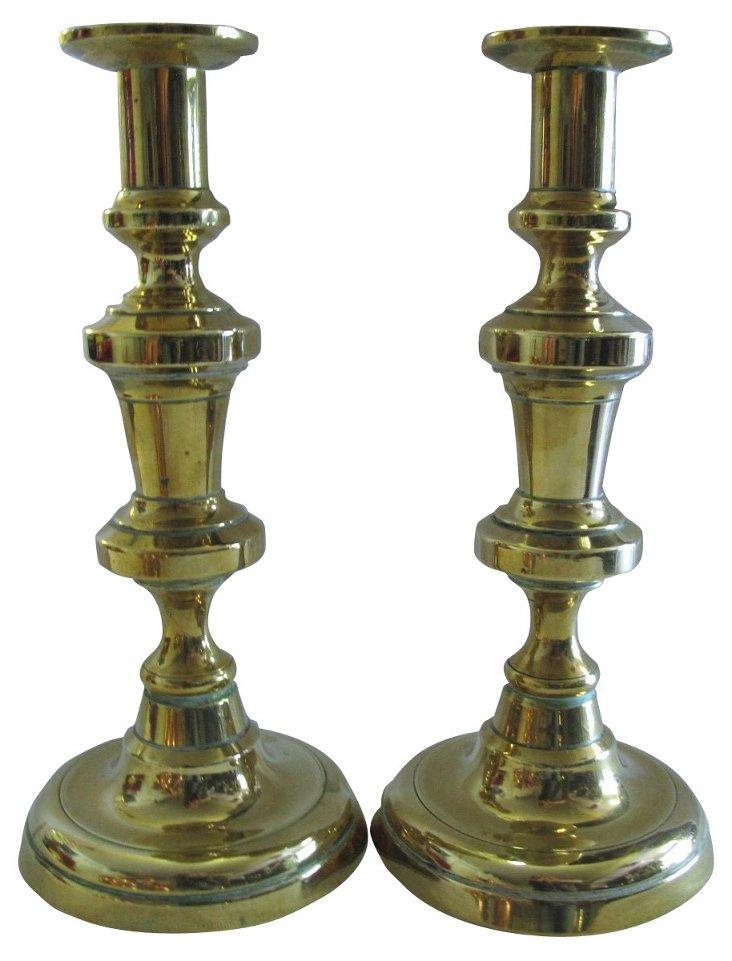 Antique Brass Candleholders,     Pair