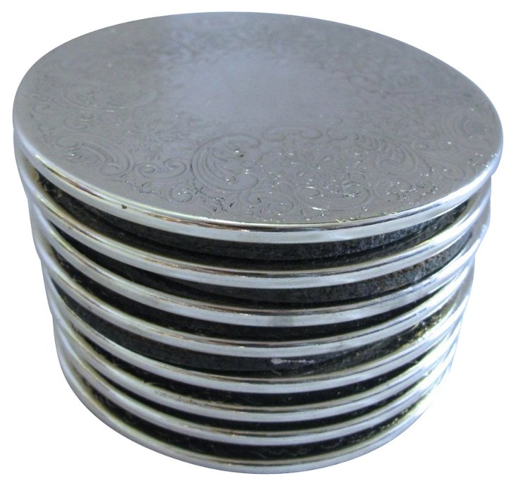 English Silverplate Coasters, S/8