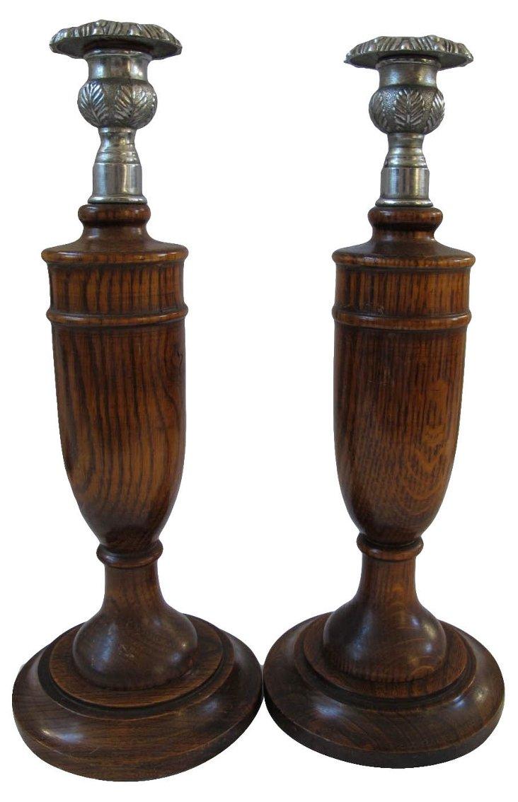 Tiger   Grain Oak Candleholders, Pair