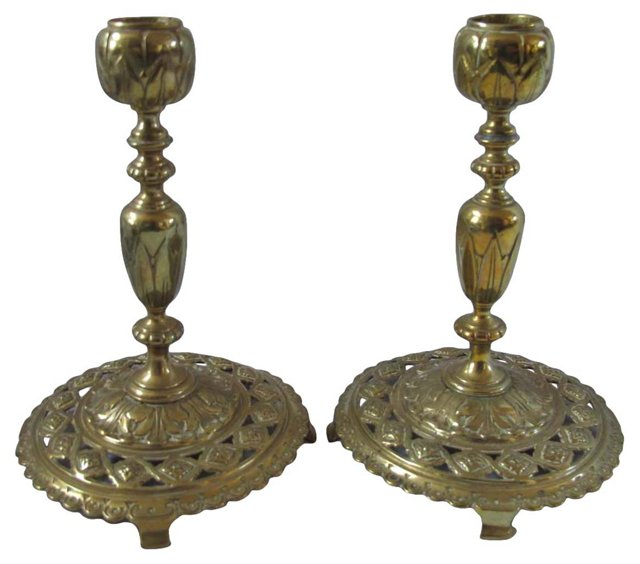 Antique Brass Filigree Candlesticks
