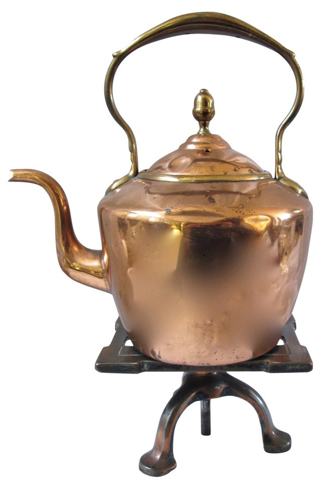 Antique Copper Kettle w/ Trivet