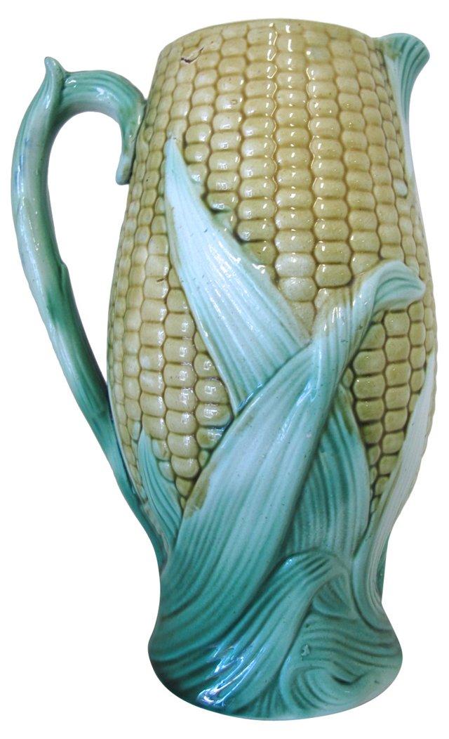Antique Majolica Corn   Jug