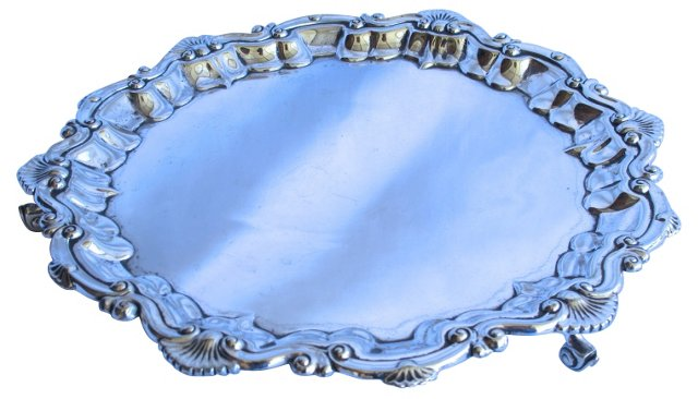 English Silverplate Footed Salver